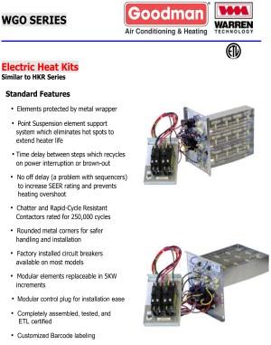 10 KW heat strip for Goodman units GPH, GPC, AR, AER, ADP