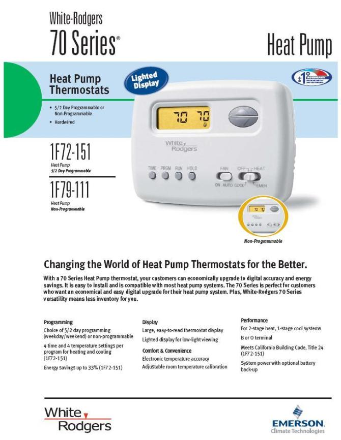 white rodgers thermostat heat pump programmable 2h/1c 1f72151 no gas