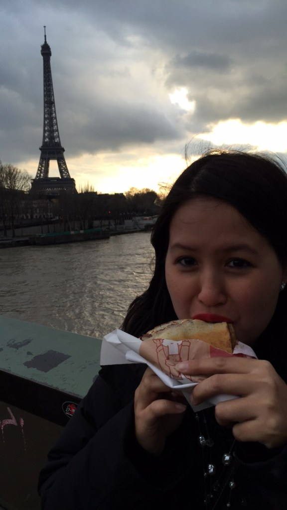 It does not get more touristy than eating a crepe with the Eiffel tower in the background.