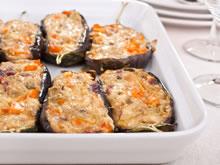 gevulde aubergine met tonijn