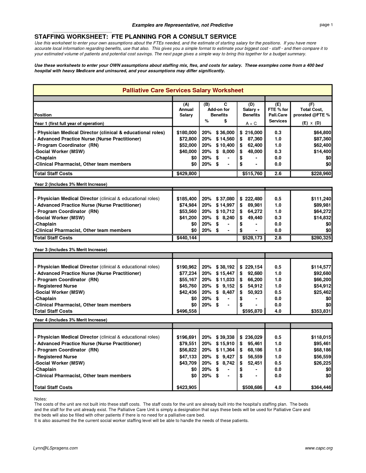 Hospital Budget Examples