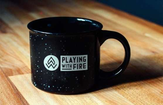 playing with fire coffee mug