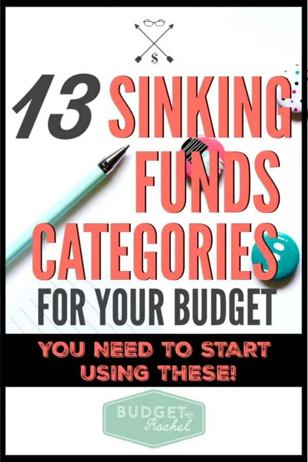 Confused about sinking funds? Don't worry! They are super simple and can save your budget! Use these sinking funds categories to stick to your budget and accomplish your financial goals. #budgettips #budget #sinkingfunds
