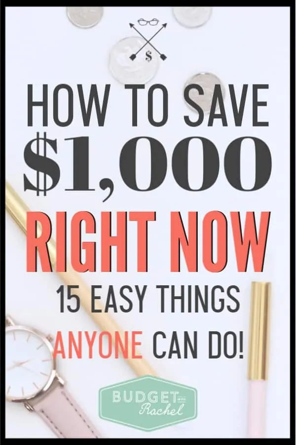 Do you need money fast? Learn these super easy ways to save money right now! Saving money doesn't have to be so challenging. Follow these money saving tips to save $1,000 for what you need. Whether it's an emergency fund or you just need money fast, these money saving tips will help you! #savemoney #moneysavingtips #budget