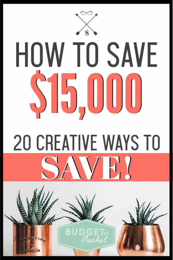 If you are trying to squeeze every penny out of your budget, you need to check out these 20 creative ways to save! Doing these things helped me save over $15,000 in one year! Use these money saving tips to get ahead. #savemoney #moneysavingtips #budget