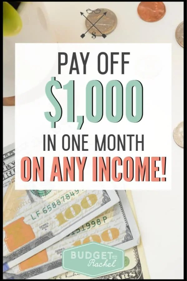 I was stuck on where to start with our debt payoff journey. This plan for paying off $1,000 of debt in one month is amazing! By following these steps we were able to jumpstart our debt free journey and start to pay off debt fast! This is amazing!! I am so glad we gave this a try. Now we are continuing our steps to financial freedom and can't wait to be debt free!