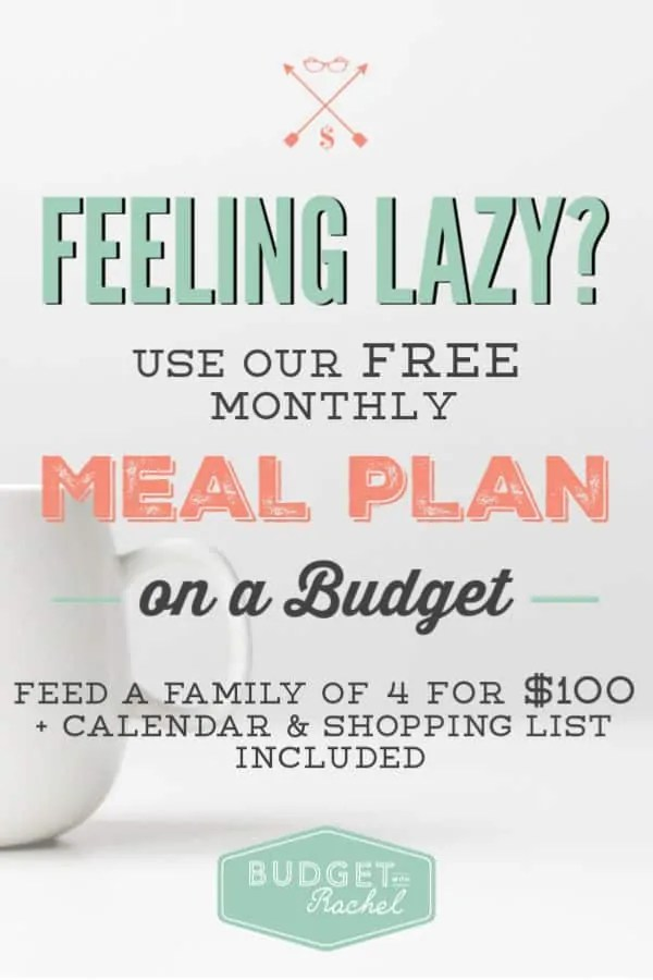 monthly meal plan on a budget less than 100 for dinners for a