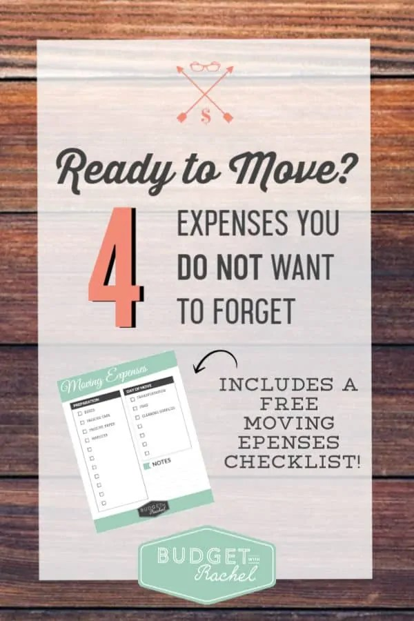Prepare your budget for a move | moving expenses to plan for | moving budget | expense planning when moving | 4 major expenses when you move | moving tips | money saving tips | budgeting tips #budgeting #budget #moving #moneysavingtips