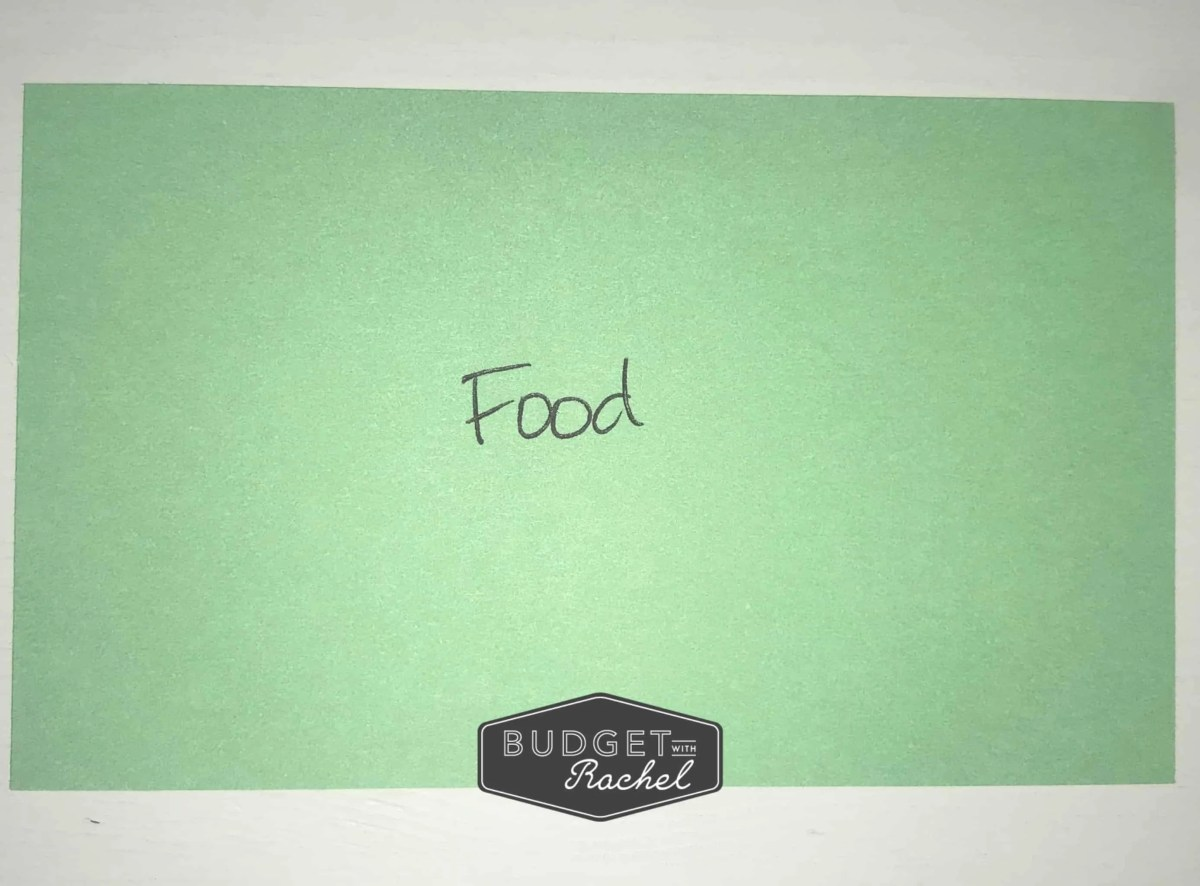 green index card reading food
