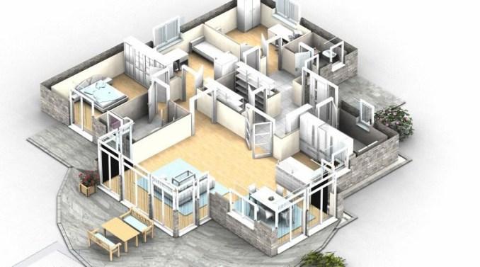 3d floor plan single family house, illustration