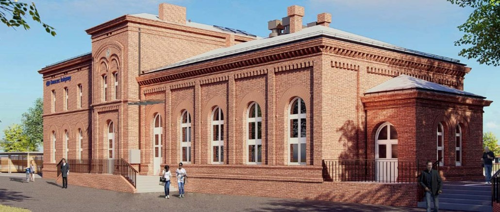 Dworzec Trzemeszno - wizualizacja - zewnętrzna - od strony miasta