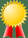 Goldene Auszeichnung mit rotem Bändchen für den Bücher Preisvergleich