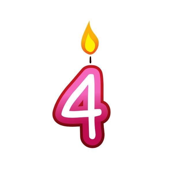 Bügelbild Kerzenzahl 4