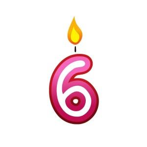 Bügelbild Kerzenzahl 6