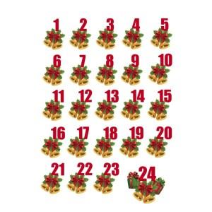 Bügelbilder Set Adventszahlen Glocken