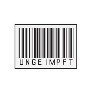 Bügelbild UNGEIMPFT Barcode
