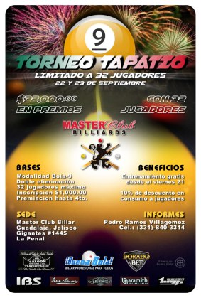 Torneo Tapatío Billar Pool Bola-9