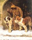 Monjes con perros San Bernardo