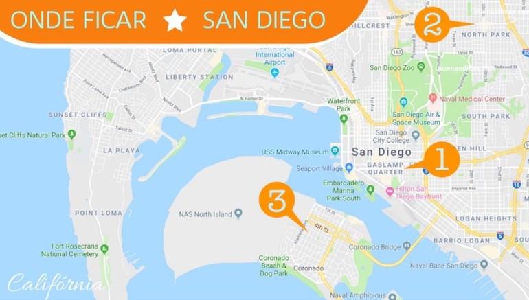 Mostrar quais são os melhores bairros para se hospedar em San Diego.