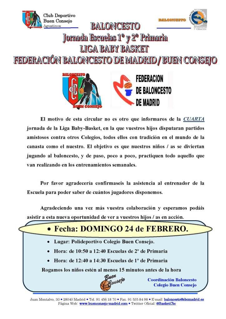 Baloncesto Escuelas 1º y 2º de Primaria 4ª Jornada Liga BabyBasket Domingo 24 de febrero