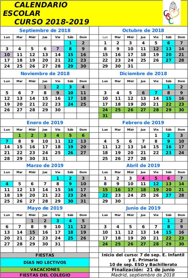 Colegio Buen Consejo Madrid, calendario Escolar 2018-2019