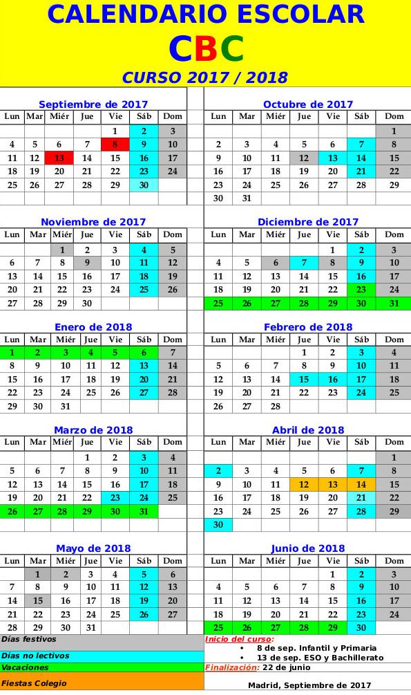 Calendario Escolar colegio Buen Consejo de Madrid. Curso 2017 - 2018