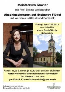Plakat des Abschlusskonzerts Meisterkurs 2013