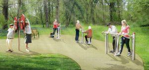 Animiertes Bild des möglichen Parcours im Schöneicher Schloßpark