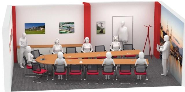 Mesa de conferencias en forma de U, diseñada por R Bellmann
