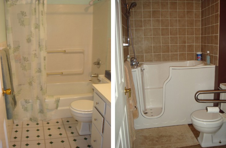 photo of Before (LEFT) and After (RIGHT) showing bathroom modifications