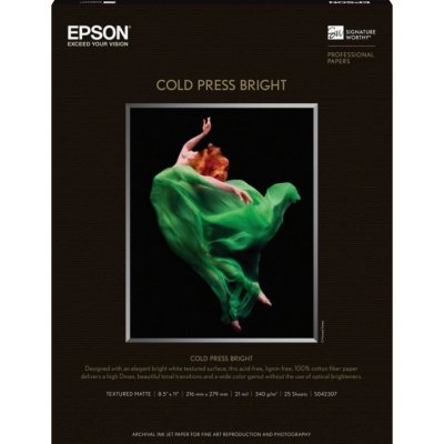 "Epson Cold Press Bright Paper (13x19"", 25 Sheets) S042310"