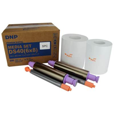 "DNP DS40 6x8"" Center Perforated Dye Sub Printer Media Kit (2 Rolls, 400 Prints)"