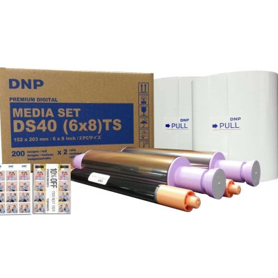 "DNP DS40 6x8"" Triple Strip Perforated Dye Sub Printer Media Kit (2 Rolls, 400 Prints)"