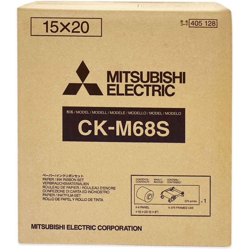 Mitsubishi CK-M68S 6x8″ Paper & Ribbon Media Kit for CP-M1A Photo Printer (1 Roll, 4x6″/750 Prints - 6x8″/375 Prints)