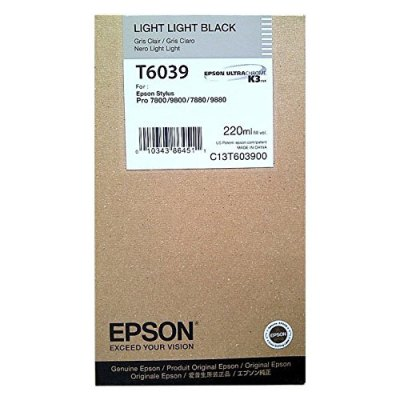 Epson T603900 Light Light Black UltraChrome K3 Ink Cartridge (220 ml)