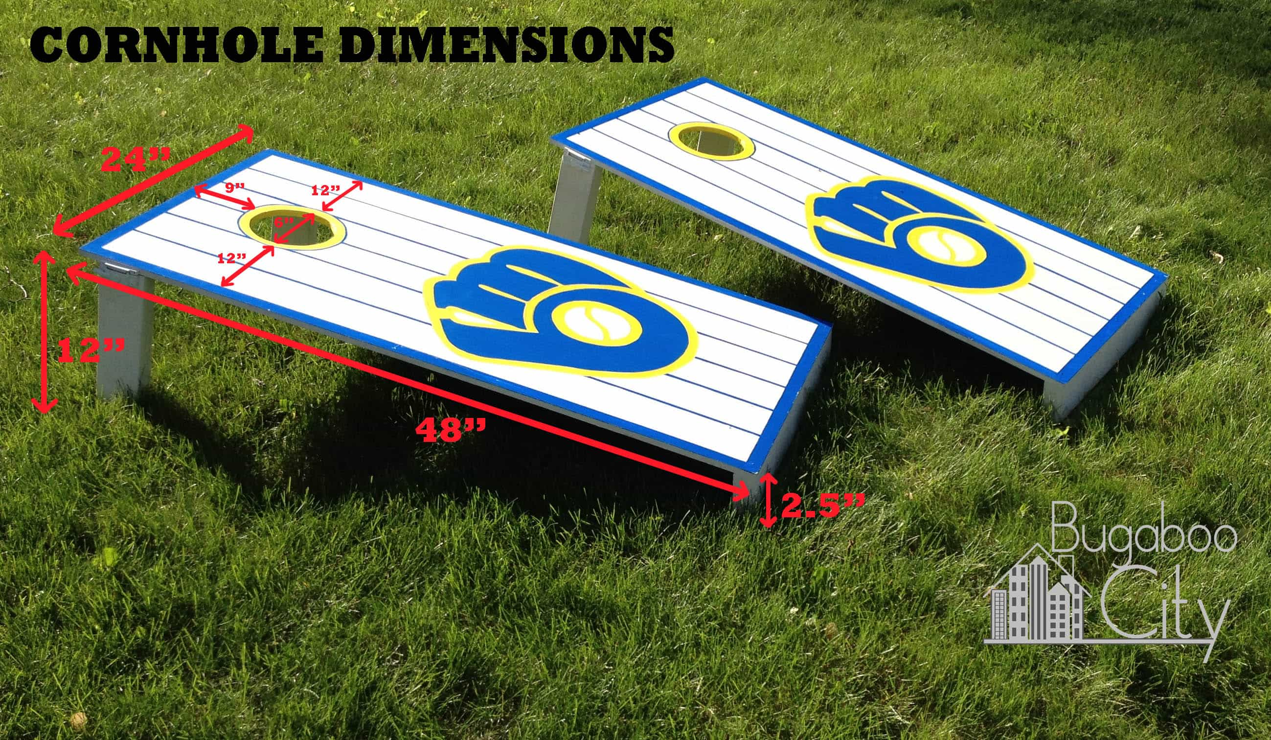 step 1 following the recommended dimensions place your hole 9u2033 from the top of your board and 12u2033 in on each side the hole should be 6u2033 in diameter