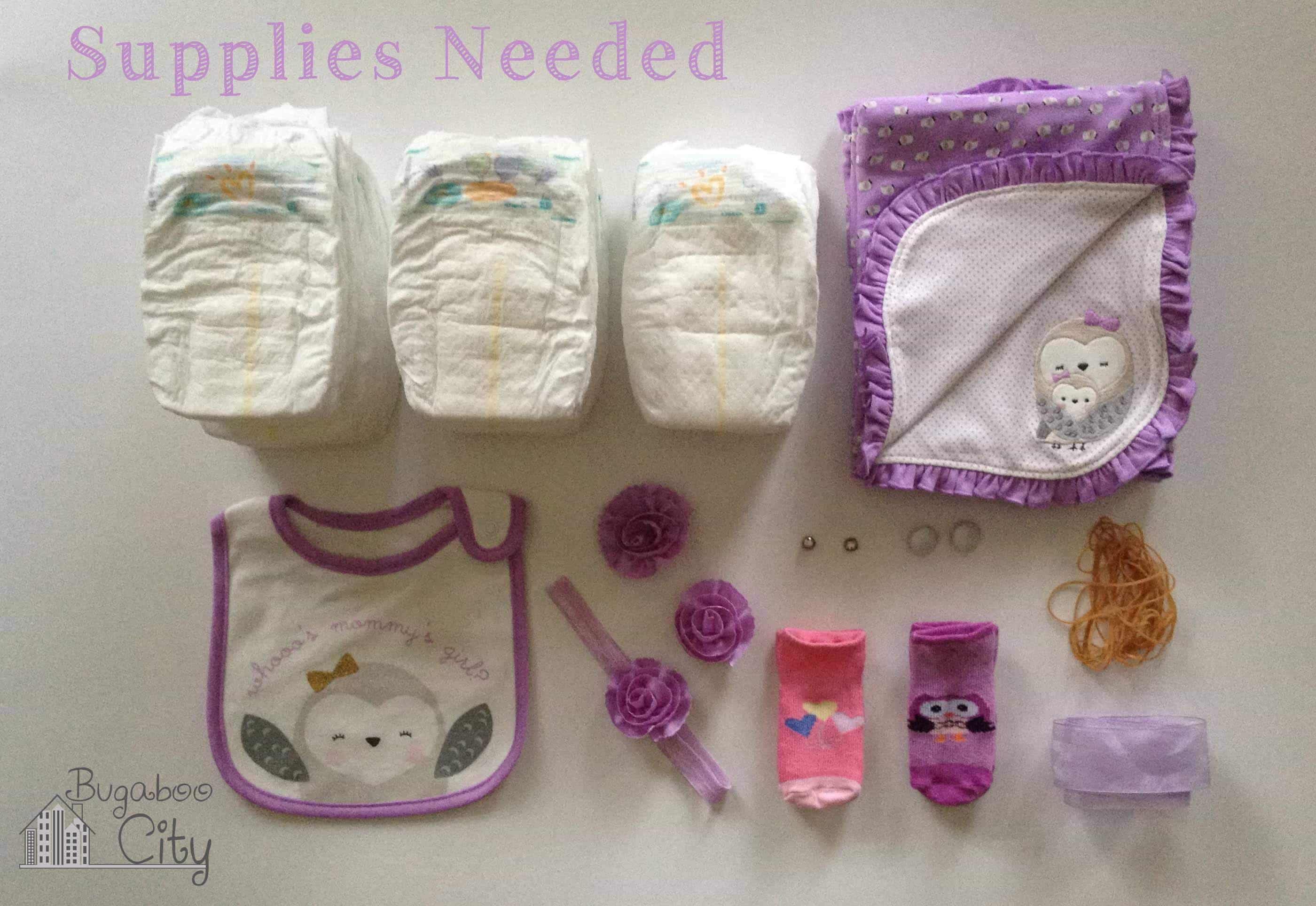 Owl diaper cake bugaboocity supplies needed for diy owl diaper cake tutorial baditri Gallery
