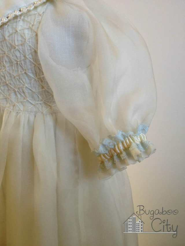 Vintage vogue baptism gown blue ribbon sleeve