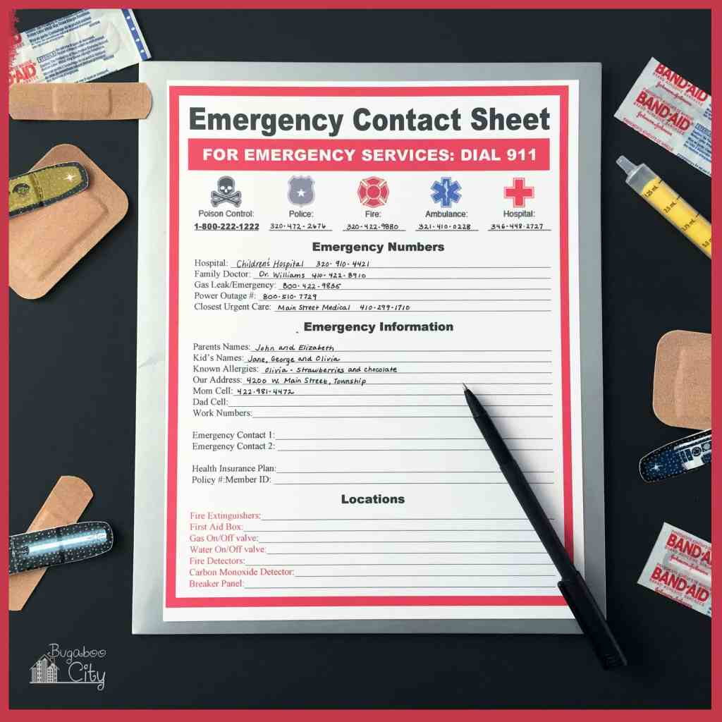 Emergency Contact Sheet Free Printable