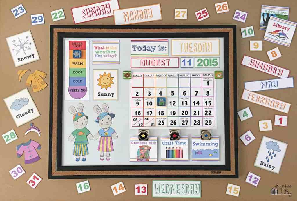 DIY Toddler Calendar Fabric Magnet Holder