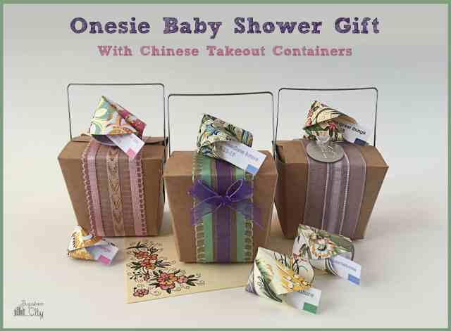 Onesie Baby Shower Gift Chinese Takeout Container. With free fortune cookie printable!