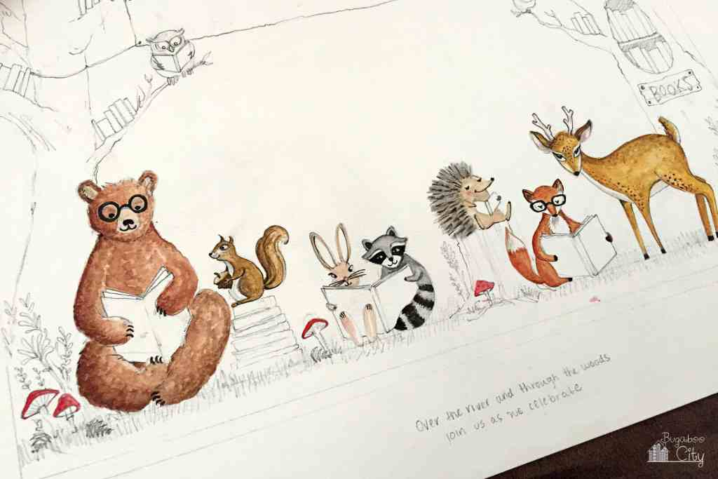 Woodland Animal Invitation Painting In Process