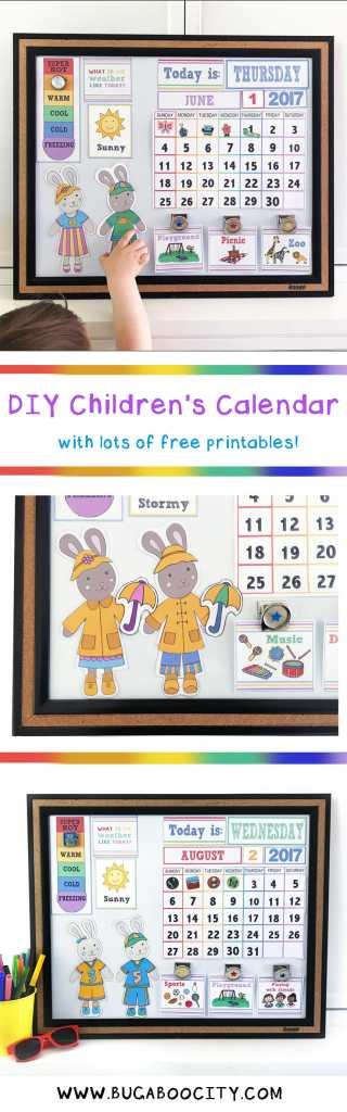 DIY Children\'s Calendar with Free Printables - BugabooCity