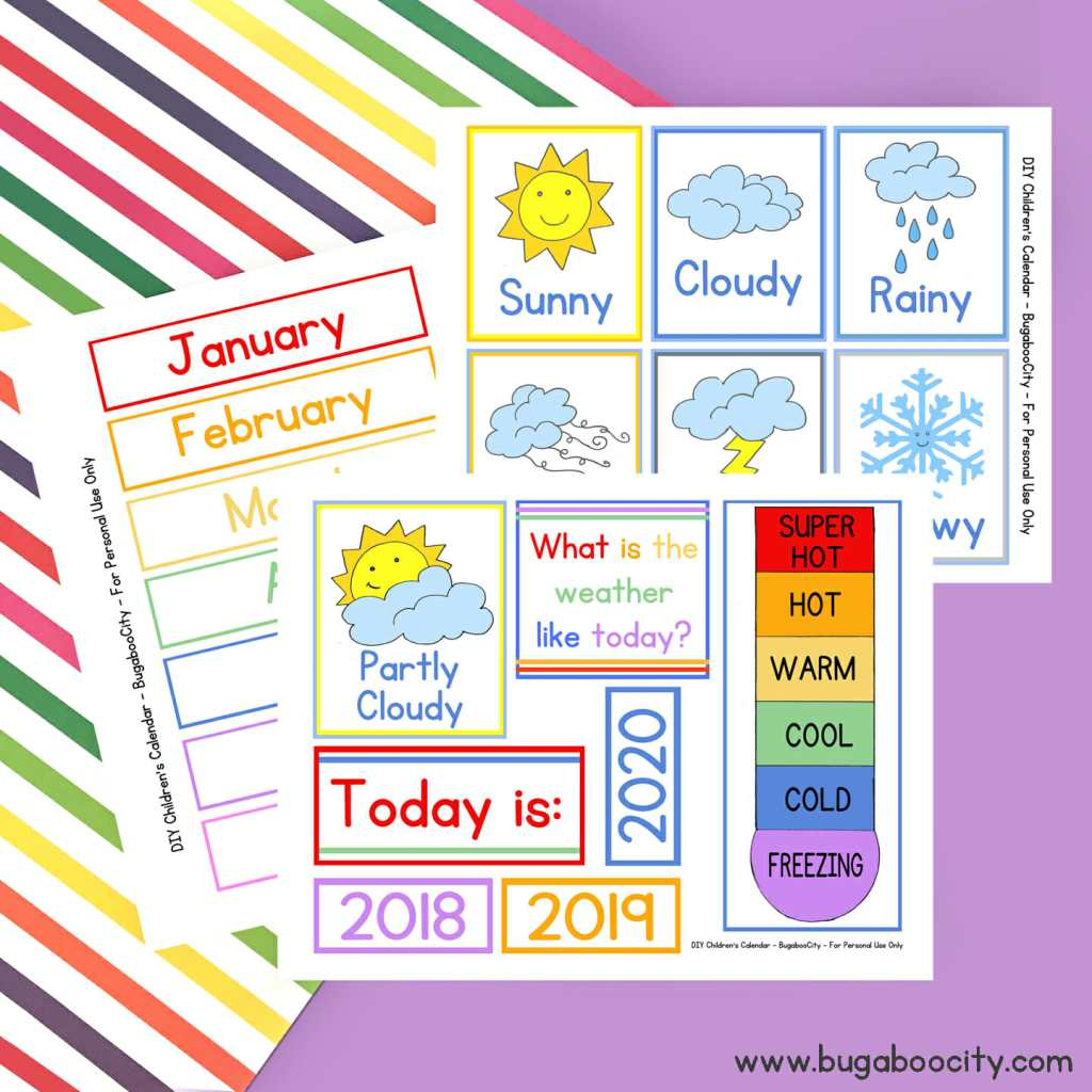 diy children s calendar with free printables bugaboocity