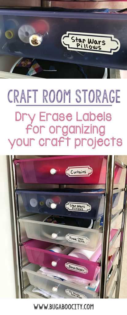 Dry erase labels for organizing craft projects in process!