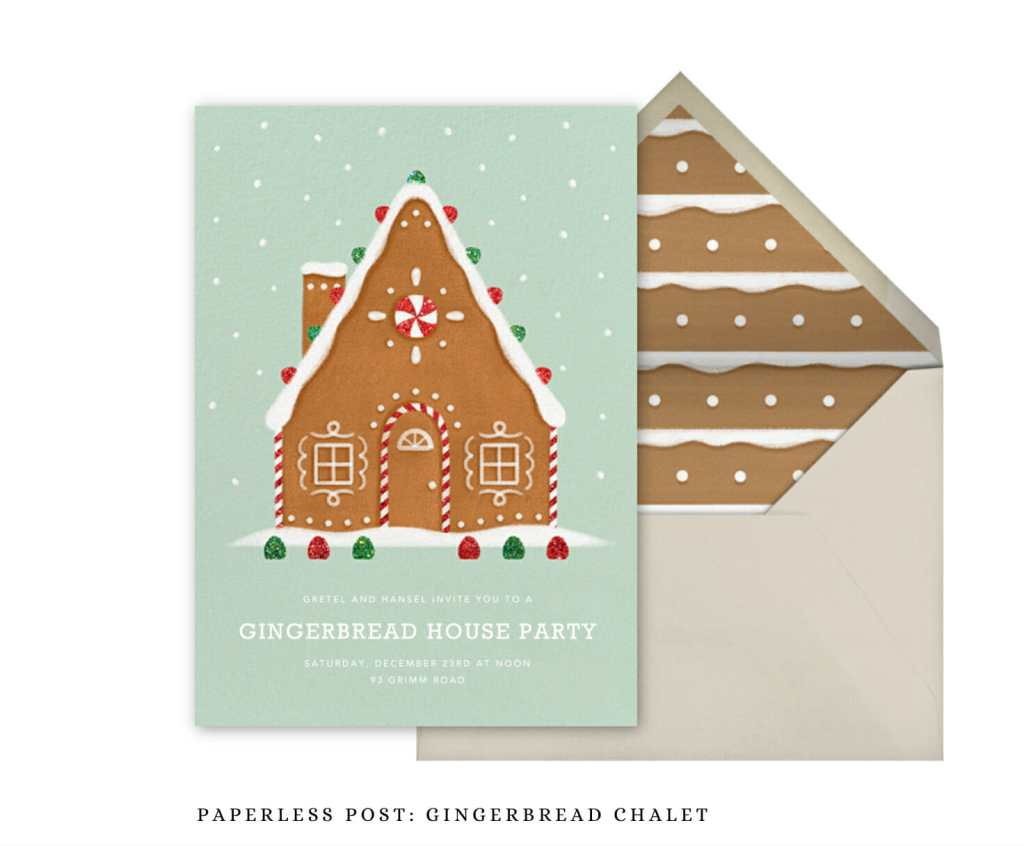 Paperless Post Invitations - Gingerbread Chalet