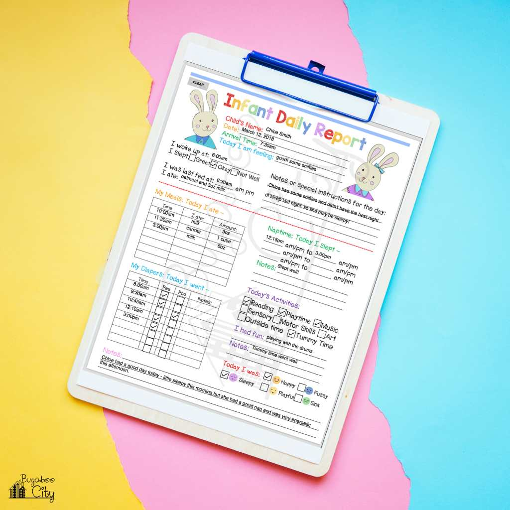 In-Home preschool printables - Infant Daily Report