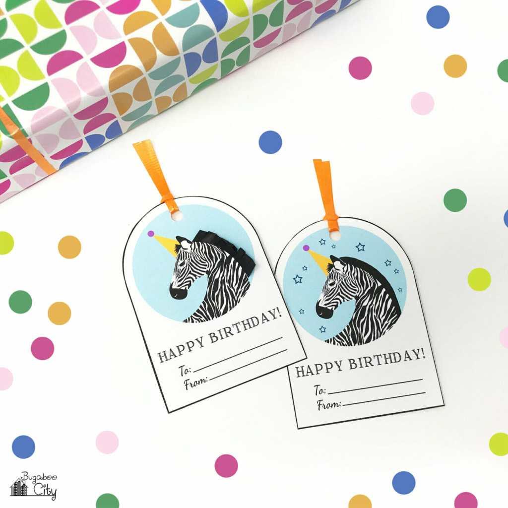 Free Printable Unicorn And Zebra Happy Birthday Tags