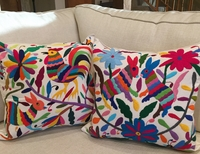 hand embroidered otomi pillow cover