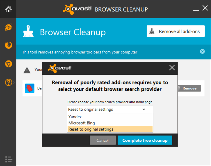 avast Browser Cleanup-Add-ons Entfernung